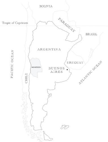Mapa de Mendoza en Argentina